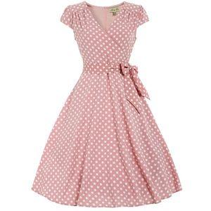 LINDY BOP Pastel Pink Polka Dot Pinup Dress